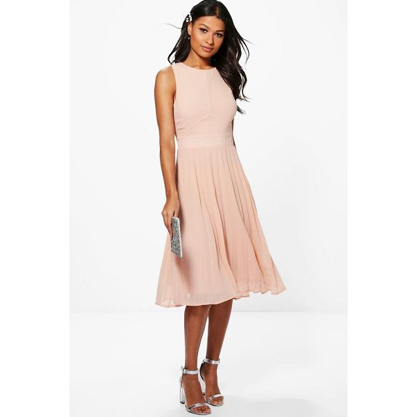 BOOHOO Kiki Chiffon Pleated Skirt Midi Skater Dress - Dresses are the most-wanted wardrobe item for day-to-night...