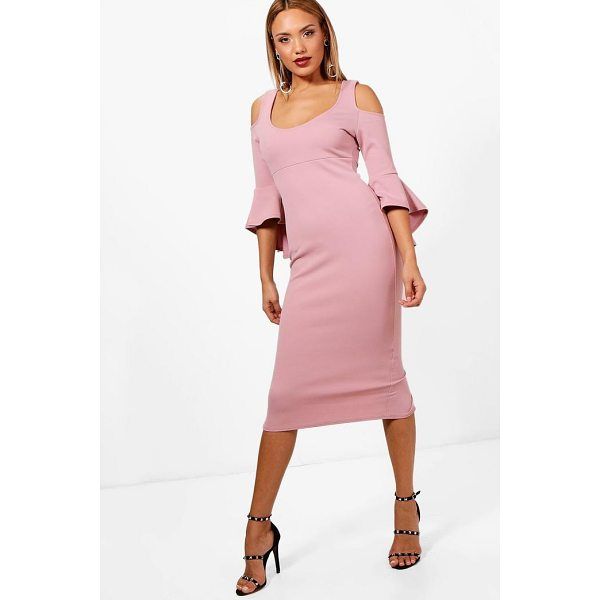 BOOHOO Kirsty Open Shoulder Frill Midi Dress - Dresses are the most-wanted wardrobe item for day-to-night...