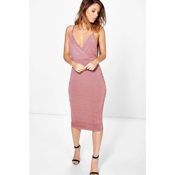 BOOHOO Kylia Drape Cowl Textured Slinky Midi Dress - Dresses are the most-wanted wardrobe item for day-to-night...