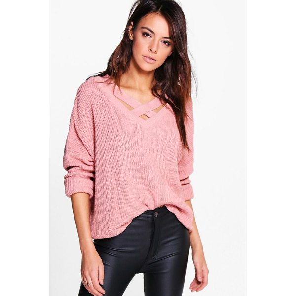 BOOHOO Lacey Strap Detail Fisherman Jumper - Nail new season knitwear in the jumpers and cardigans that...