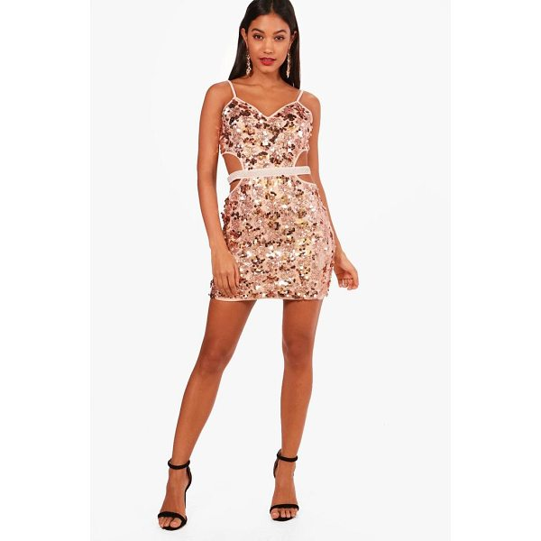 BOOHOO Lanie Strappy Sequin Bodycon Dress - Dresses are the most-wanted wardrobe item for day-to-night...