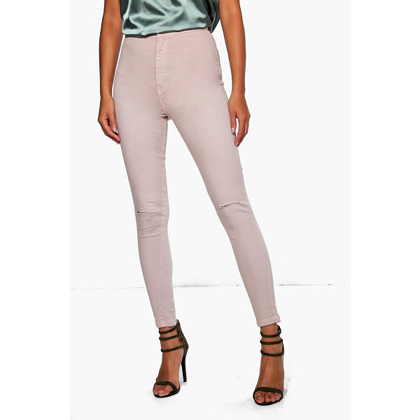 BOOHOO Lara High Rise Knee Rip Tube Jeans mocha - Jeans are the genius wear-with-anything wardrobe...
