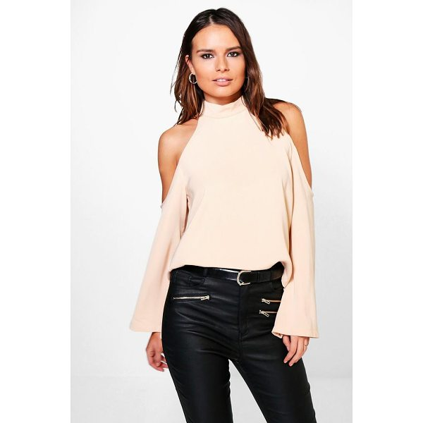 BOOHOO Laura Cold Shoulder Flute Sleeve Blouse - From day-to-night, season-to-season the shirt is the...