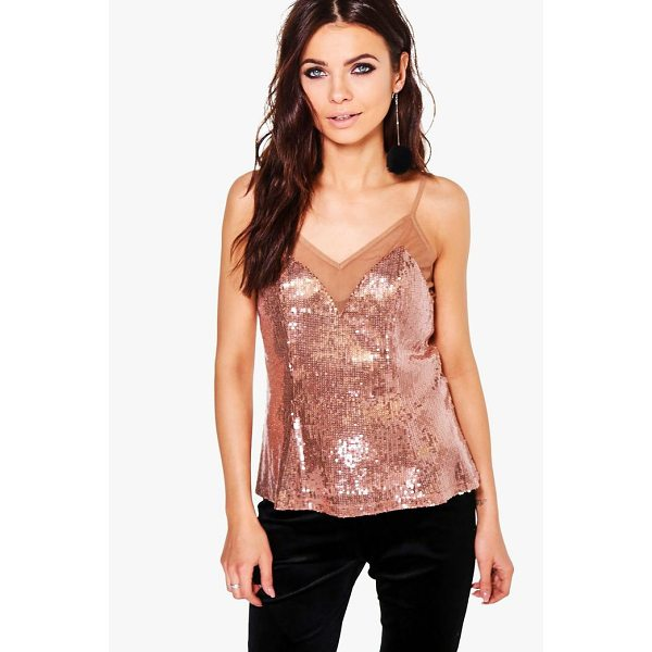 BOOHOO Laura Sequin Mesh Panel Cami - Steal the style top spot in a statement separate from the...