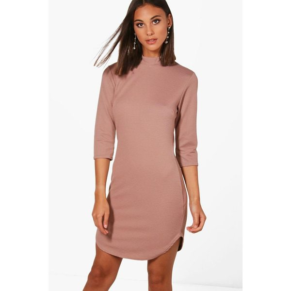 BOOHOO Lauren Heavy Rib Curved Hem Bodycon Dress - Dresses are the most-wanted wardrobe item for day-to-night...