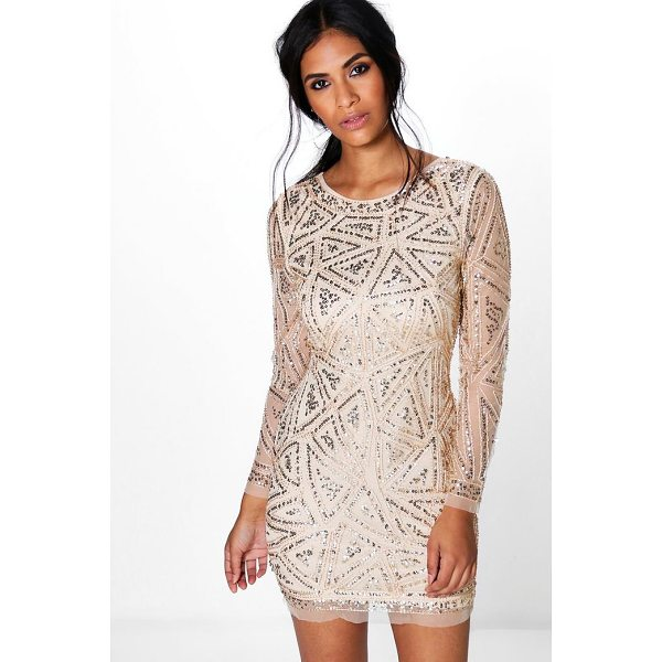 BOOHOO Lauren Sequin Long Sleeved Bodycon Dress - Dresses are the most-wanted wardrobe item for day-to-night...