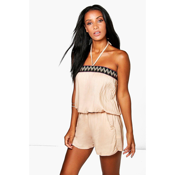 BOOHOO Layla Halter Neck Aztec Playsuit - Jumpsuits are your day-to-night dress alternativeYour 70s...