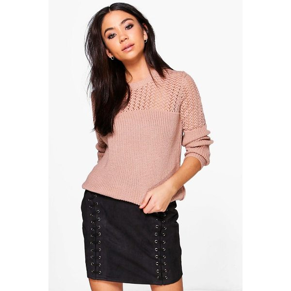 BOOHOO Layla Open Knit Crew Neck Jumper - Nail new season knitwear in the jumpers and cardigans that...