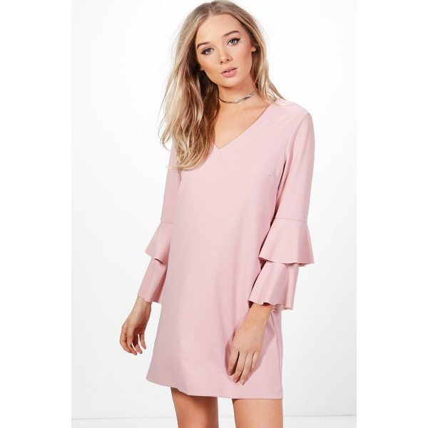 BOOHOO Layla Ruffle Sleeve Woven Dress - A failsafe favourite, shift dresses are effortlessly...