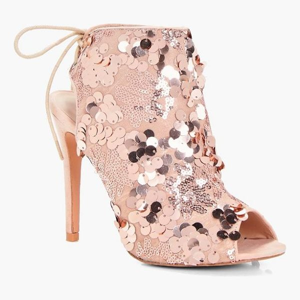 BOOHOO Layla Sequin Detailed Peeptoe Shoe Boot - We'll make sure your shoes keep you one stylish step ahead...
