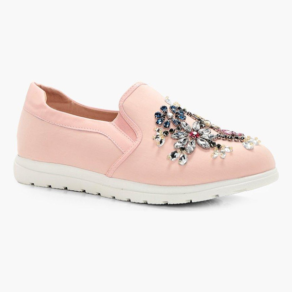 BOOHOO Leah Embellished Slip On Trainer - We'll make sure your shoes keep you one stylish step ahead