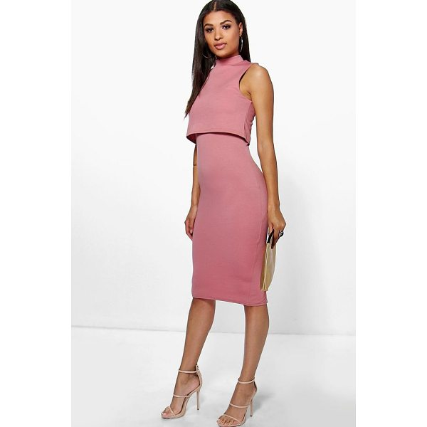 BOOHOO Leah High Neck Double Layer Midi Dress - Spin your way through cocktail hour in our selection of...