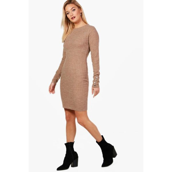 BOOHOO Leah Knitted Rib Midi Dress - Nail new season knitwear in the jumpers and cardigans that...