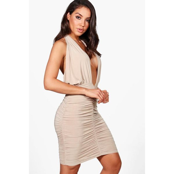 BOOHOO Leanne Slinky Twist Ruched Bodycon Dress - Dresses are the most-wanted wardrobe item for day-to-night...