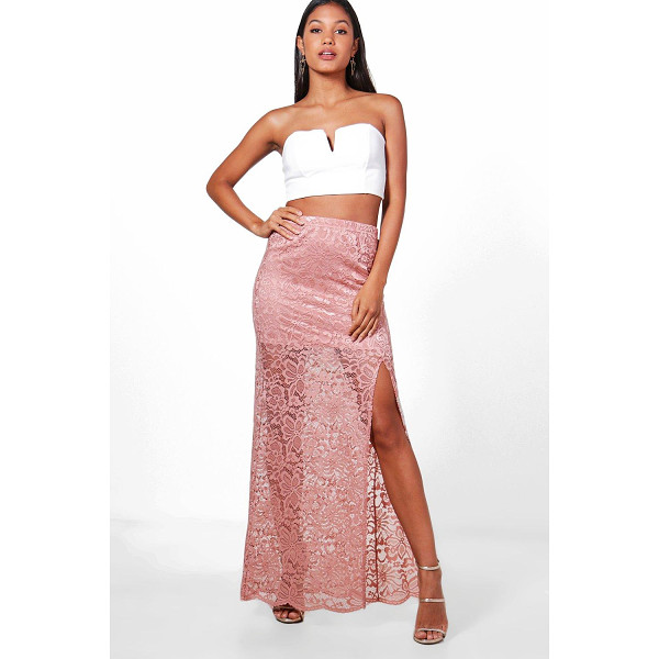 BOOHOO Leora Thigh Split Lace Maxi Skirt - Skirts are the statement separate in every wardrobe This...