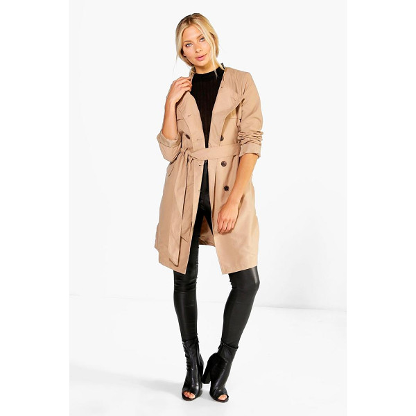 BOOHOO Lexi Belted Collarless Mac - Wrap up in the latest coats and jackets and get out-there...