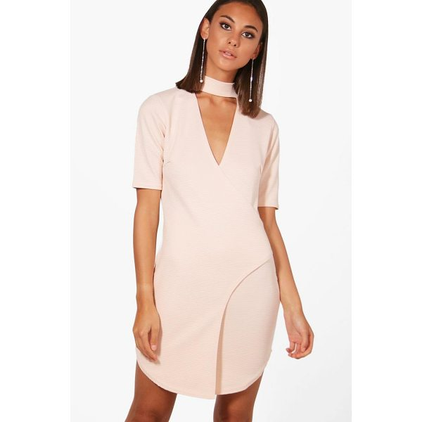 BOOHOO Lily Choker Ribbed Wrap Bodycon Dress - Dresses are the most-wanted wardrobe item for day-to-night...