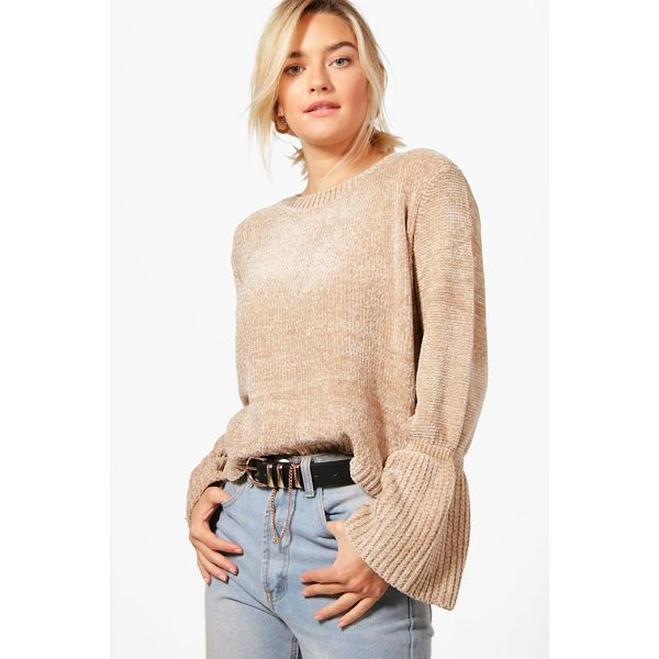 BOOHOO Lily Flare Sleeve Chenille Jumper - Nail new season knitwear in the jumpers and cardigans that...