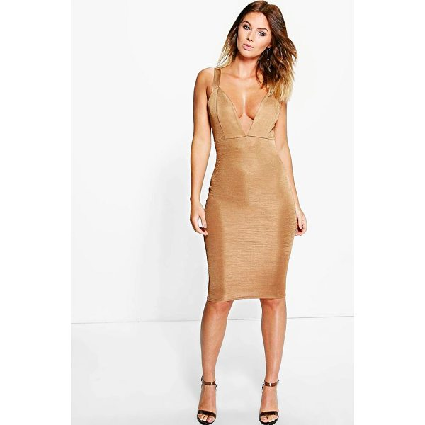 BOOHOO Lindsey Ribbed Plunge Neck Midi Dress - Dresses are the most-wanted wardrobe item for day-to-night...
