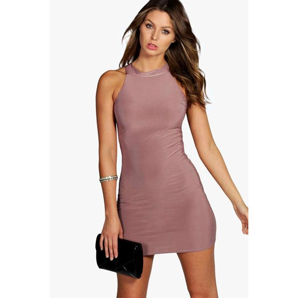 BOOHOO Lisa High Neck Slinky Mini Dress - Spin your way through cocktail hour in our selection of...