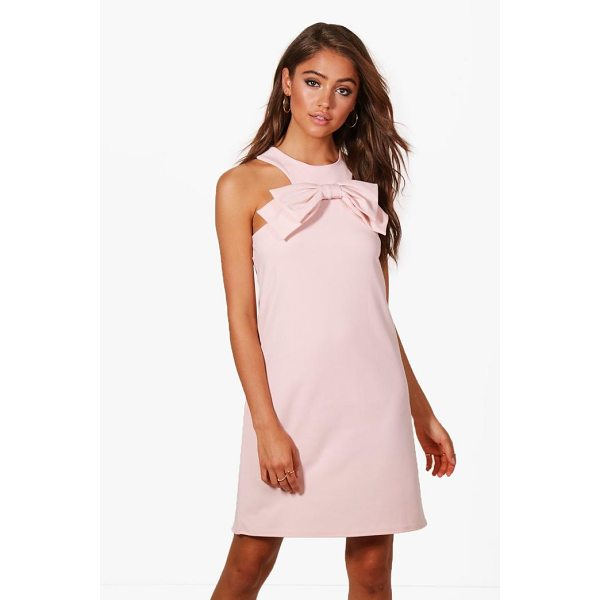 BOOHOO Lissy Bow Front Detail Shift Dress - Dresses are the most-wanted wardrobe item for day-to-night...