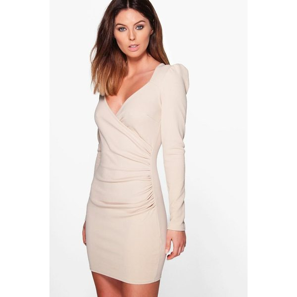 BOOHOO Liza Slinky Wrap Long Sleeve Bodycon Dress - Dresses are the most-wanted wardrobe item for day-to-night...
