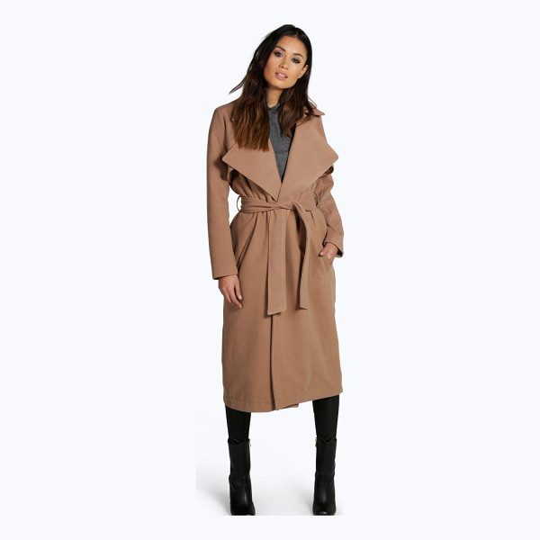 BOOHOO Lois Longline Belted Wool Look Trench - Wrap up in the latest coats and jackets and get out-there...