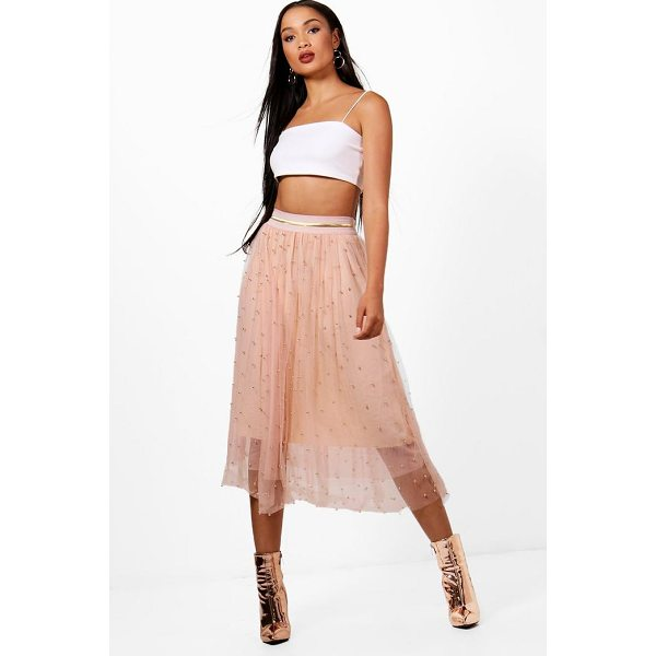 BOOHOO Lola Bead Embellished Tulle Midi Skirt - Skirts are the statement separate in every wardrobe This...