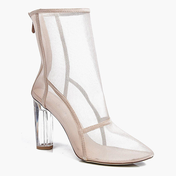 BOOHOO Lola Clear Cylinder Mesh Sock Boot - Boots are a basic in every shoe collectionAnkle boots are