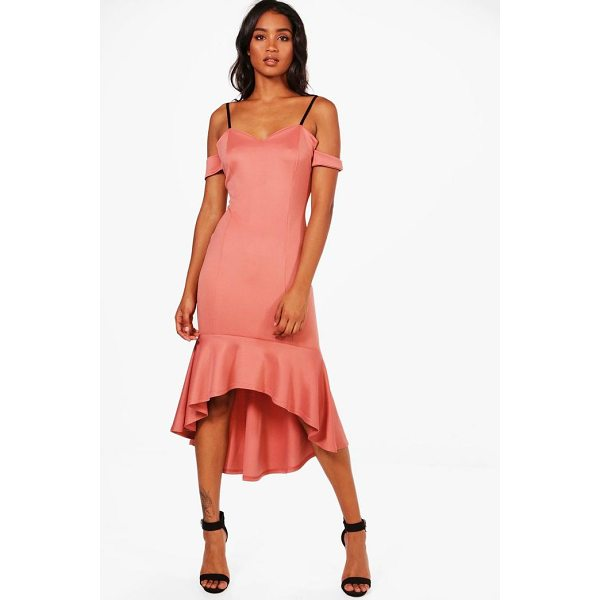 BOOHOO Lola Cold Shoulder Flute Hem Midi Dress - Dresses are the most-wanted wardrobe item for day-to-night...