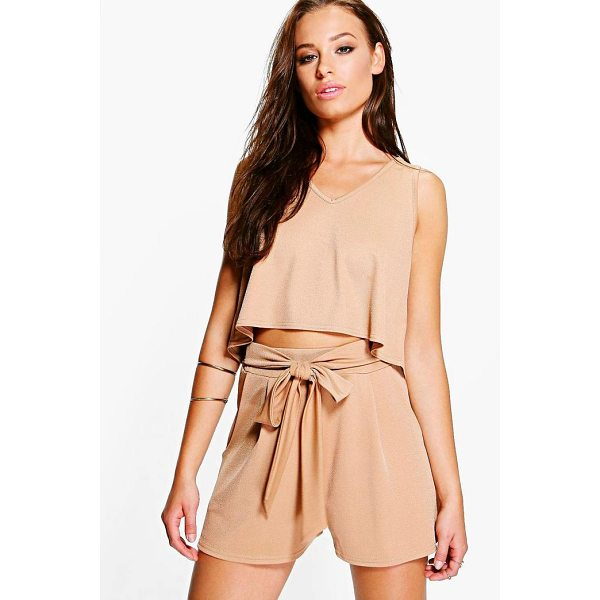 BOOHOO Lola V Neck Top + Tie Short Co-Ord - Co-ordinates are the quick way to quirky this seasonMake...