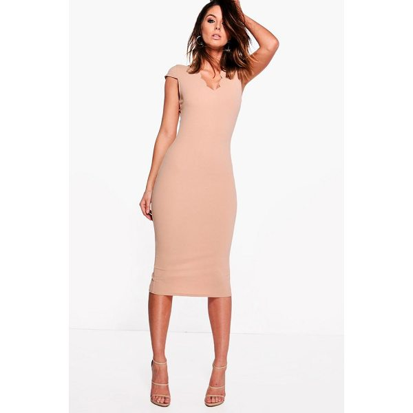 BOOHOO Loren Scallop Neck Cap Sleeved Midi Dress - Dresses are the most-wanted wardrobe item for day-to-night...