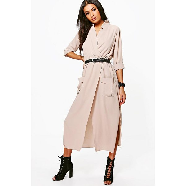 BOOHOO Lorraine Long Sleeve Pocket Front Shirt Dress - Dresses are the most-wanted wardrobe item for day-to-night...