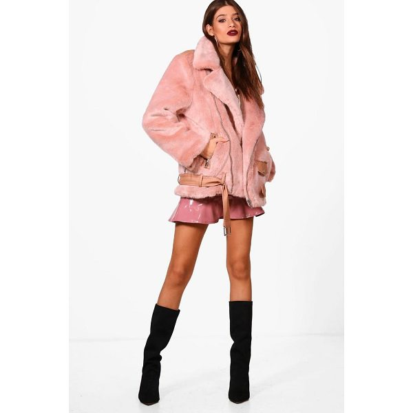 BOOHOO Lottie Boutique Oversized Faux Fur Aviator - Wrap up in the latest coats and jackets and get out-there...