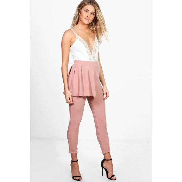 BOOHOO Lottie Crepe Peplum Skinny Trousers - Trousers are a more sophisticated alternative to...