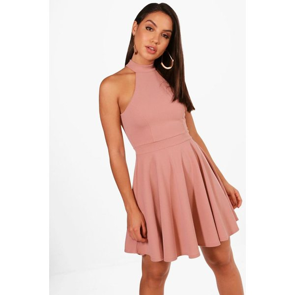 BOOHOO Lottie High Neck Skater Dress - Dresses are the most-wanted wardrobe item for day-to-night...