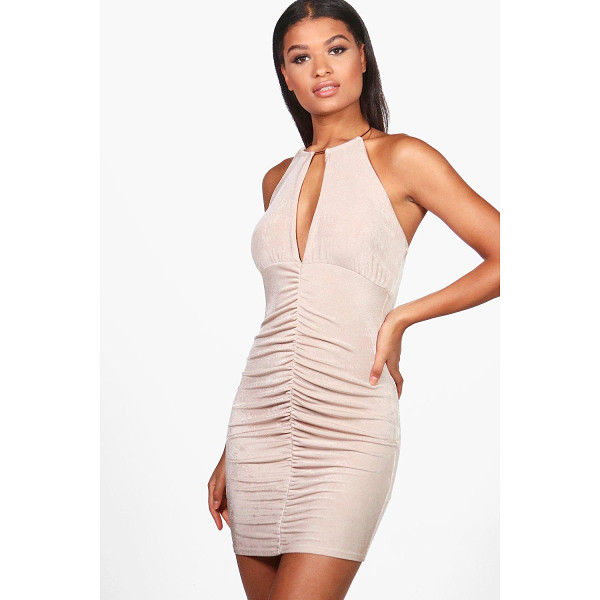 BOOHOO Lou Textured Slinky Choker Bodycon Dress - Dresses are the most-wanted wardrobe item for day-to-night...