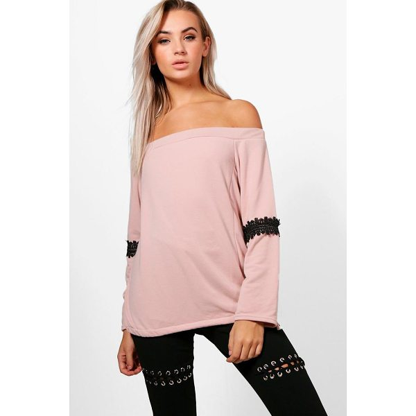 BOOHOO Louisa Off The Shoulder Lace Trim Sweat Top - Steal the style top spot in a statement separate from the...