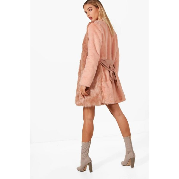 BOOHOO Louise Boutique Belted Faux Fur Mix Coat - Wrap up in the latest coats and jackets and get out-there...