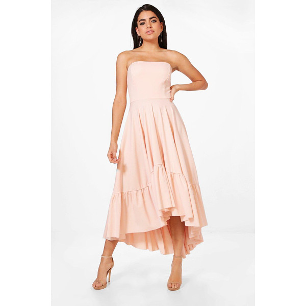 BOOHOO Lucy Bandeau Ruffle Hem Midi Skater Dress - Dresses are the most-wanted wardrobe item for day-to-night...