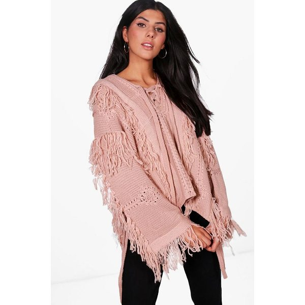 BOOHOO Lucy Boutique Lace Up Tassel Jumper - Nail new season knitwear in the jumpers and cardigans that...
