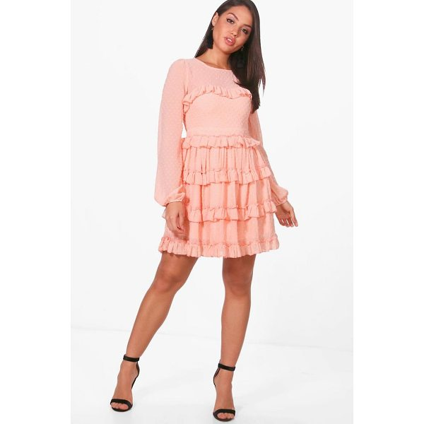 BOOHOO Lucy Dobby Ruffle Skirt Skater Dress - Dresses are the most-wanted wardrobe item for day-to-night...