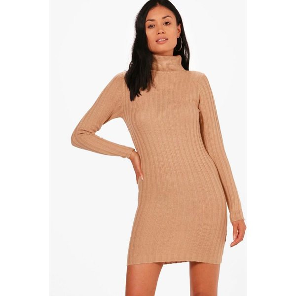 BOOHOO Lucy Longline Ribbed Roll Neck Tunic - Nail new season knitwear in the jumpers and cardigans that...
