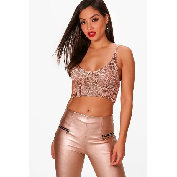 BOOHOO Lucy Metallic Plunge Neck Crop Knitted - Steal the style top spot in a statement separate from the...