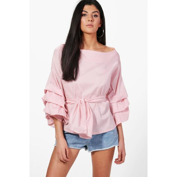 BOOHOO Lucy Premium Woven Ruffle Sleeve Top - Steal the style top spot in a statement separate from the...