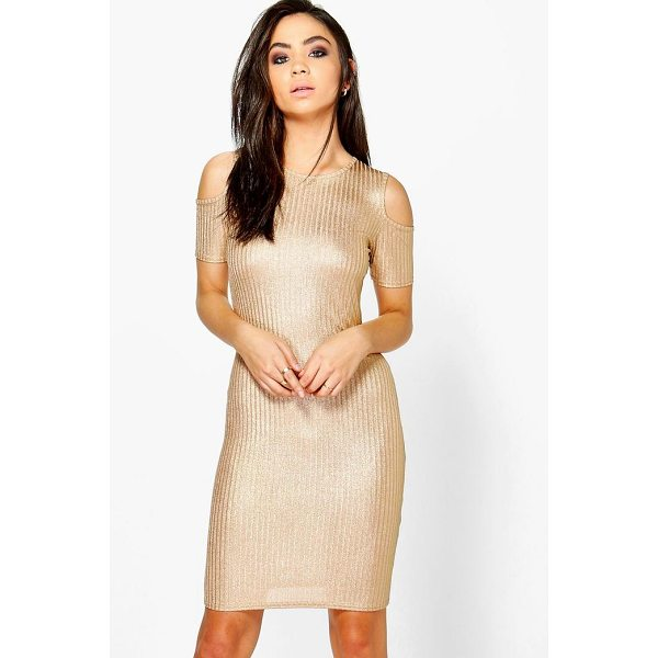 BOOHOO Lucy Rib Cold Shoulder Dress - Dresses are the most-wanted wardrobe item for day-to-night...