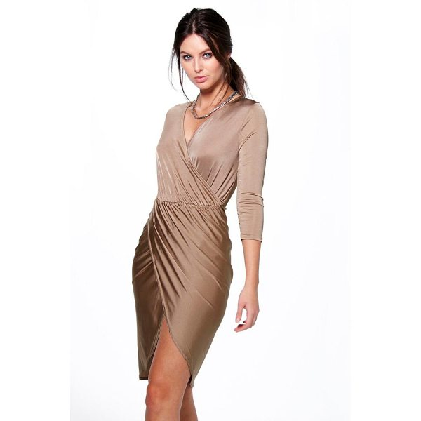 BOOHOO Lucy Slinky Wrap Over Bodycon Dress - Dresses are the most-wanted wardrobe item for day-to-night...
