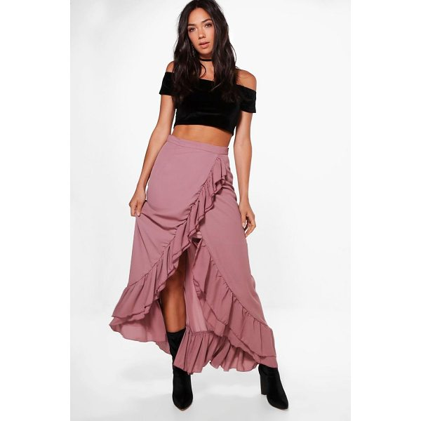BOOHOO Luna Ruffle Front Dipped Hem Maxi Skirt - Skirts are the statement separate in every wardrobe This...