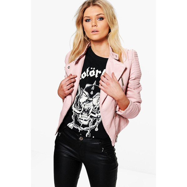 BOOHOO Lydia Quilted Sleeve Faux Leather Biker Jacket - Wrap up in the latest coats and jackets and get out-there...