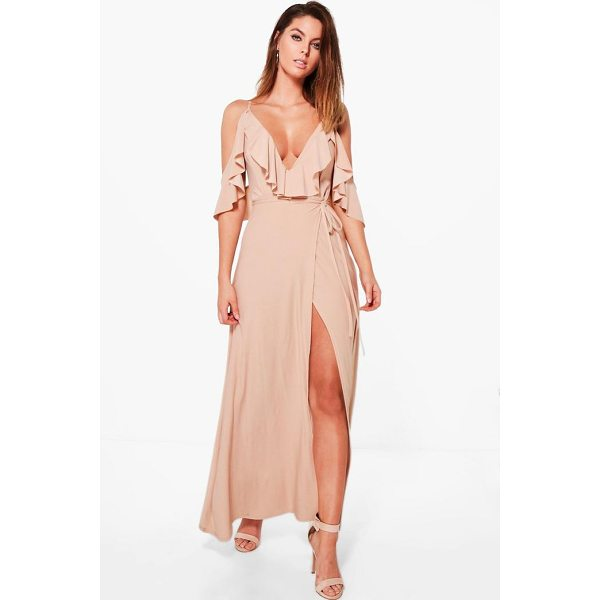 BOOHOO Lyla Frill Detail Drop Shoulder Wrap Tie Maxi Dress - Dresses are the most-wanted wardrobe item for day-to-night...